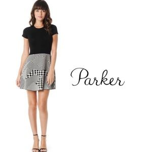 Parker Knit Fit & Flare Dress In Houndstooth
